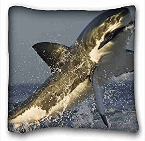 Generic Personalized ( Animals shark steams water black and white ) Popular 16x16 inch One Side Pizza Rectangle Pillowcase suitable for California King-bed