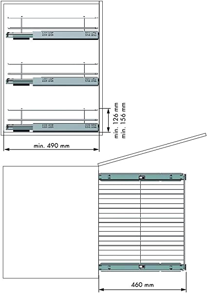Casaenorden Bandeja extra/íble para mueble de cocina Acabado acero cromo Ancho 262-268 mm Cestos extra/íbles para muebles de cocina