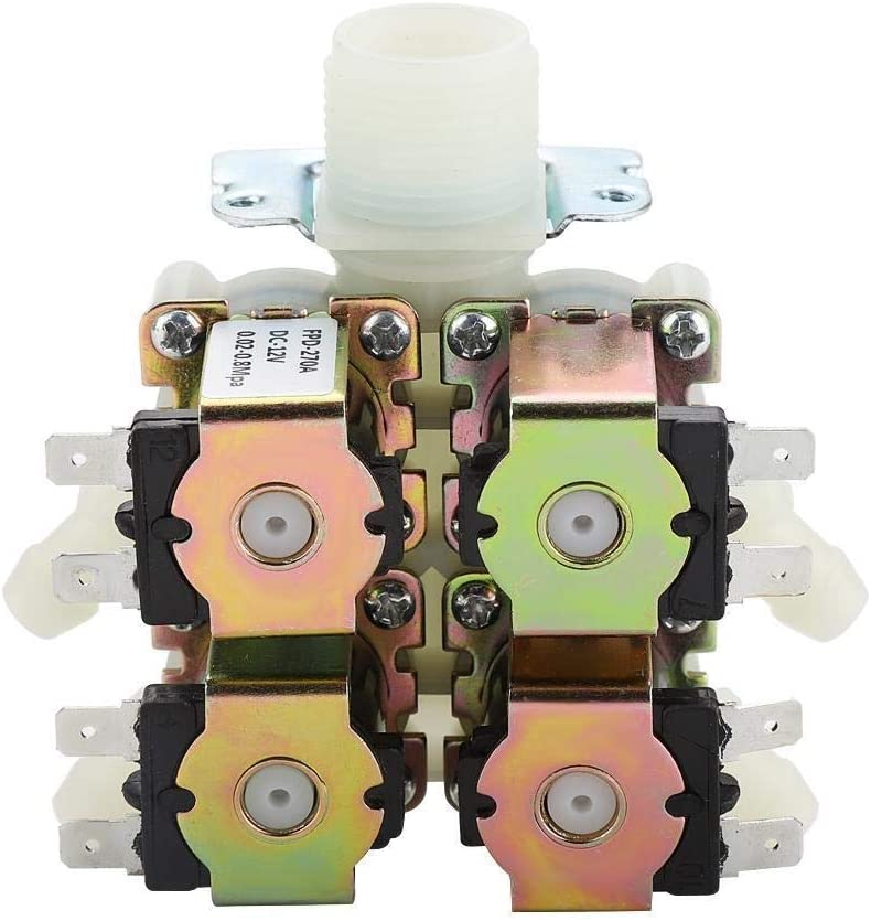 Broco DC 12V DN20 G3//4 1 in 4 Out Plastic Electromagnetic Valve Normally Closed Water Drain Valve