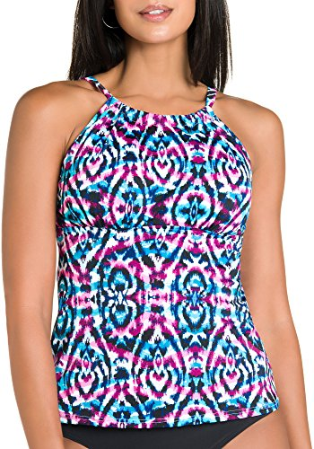 Caribbean Joe Women's Rebel Yell Adjustable High Neck Tankini with Underwire, Black, 12