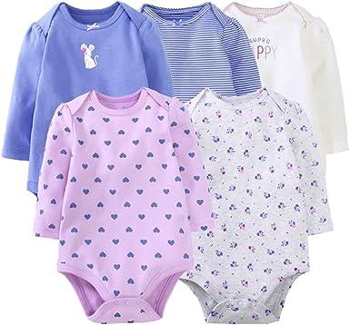 Bebé Body Pack de 5 - Mono Niñas Mameluco Manga Corta para Bebé ...
