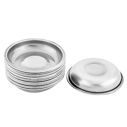 sourcingmap® Metal para el hogar de forma redonda de soja salsa de acompañamiento porción del
