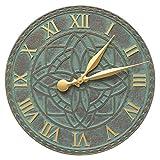 SKB family Artisan Outdoor Wall Clock, 16'' x 16'' x 1.25'' x 6.5 lbs, Bronze Verdigris