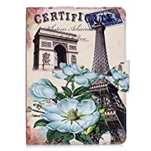 iPad Air Case,iPad 5 Case,Gift_Source [Wallet Pocket] [Card Slots] Premium Slim Fit PU Leather Folio Case Stand Cover Protective Holster for Apple iPad Air/iPad 5 [Eiffel Tower Flowers]