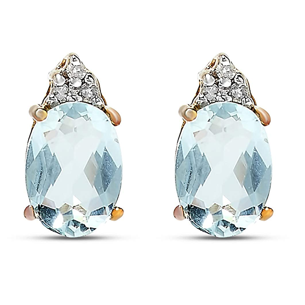 3851d2de3 Amazon.com: 14k Yellow Gold Blue Aquamarine Gemstone and Diamond Stud  Earrings, Birthstone of March.: Jewelry