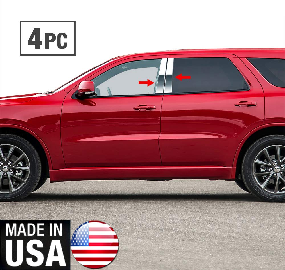 Works with 2011-2015 Dodge Durango 4PC Stainless Steel Chrome Pillar Post Trim Made in USA