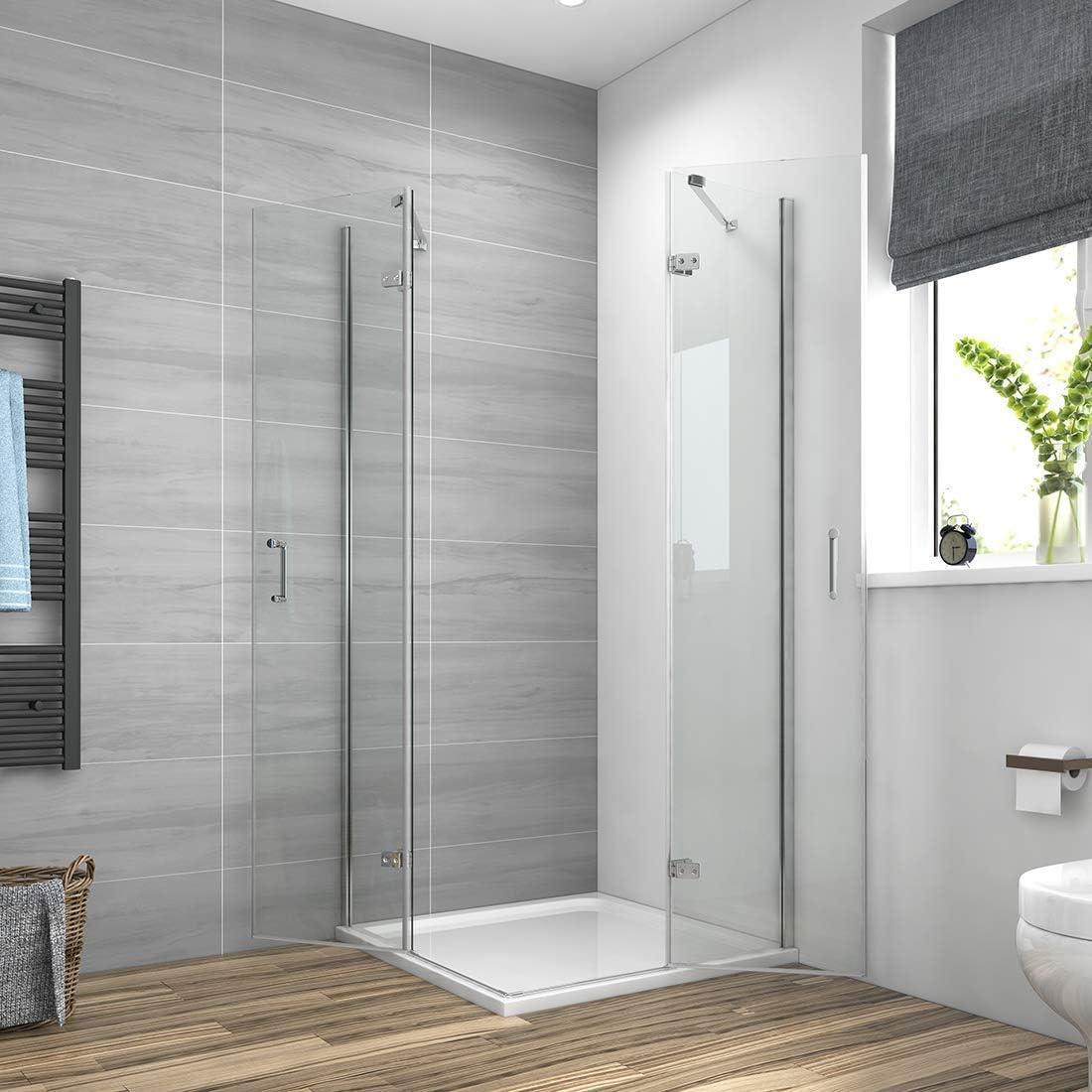 Cabina de ducha esquinera, mampara de ducha, mampara de ducha, puerta de esquina, puerta oscilante, cabinas de ducha Meykoe de 6 mm, vidrio de seguridad ESG, altura 185 cm, todos los tamaños: