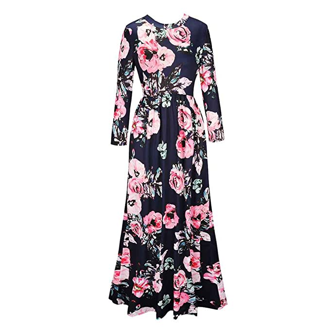 Vestido largo mujeres otoño invierno impresión elegante floral de manga  larga playa O cuello suelto Vintage elegante vestido casual Jersey Minzhi   ... 302e1ce53c16