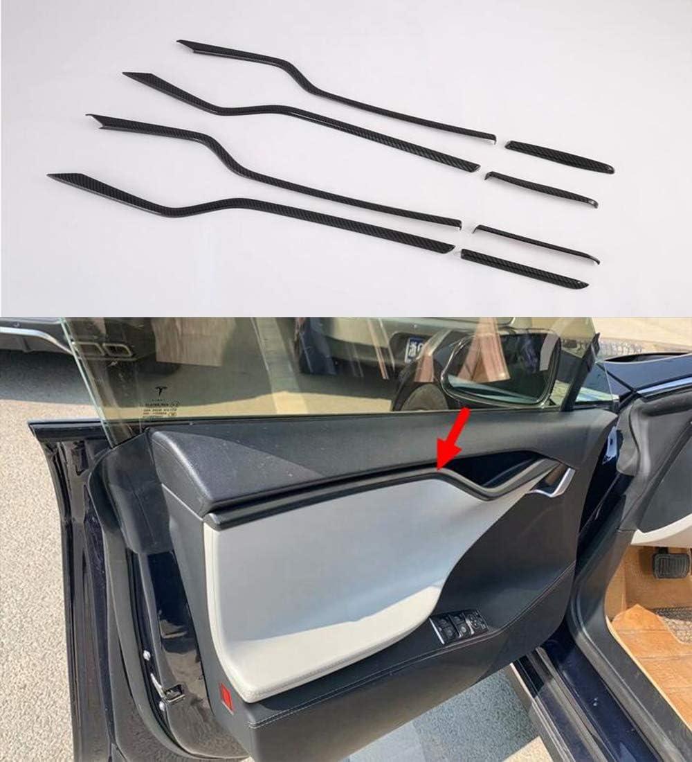8Pcs Carbon Fiber Style Interior Car Body Door Side Molding Trim Cover Guard for Tesla Model S 2017-2020 Momoap