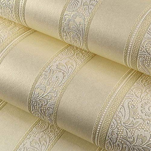 Jueven European Luxury 3D Thickening Non-Woven Stereo Striped Wallpaper Living Room Bedroom Wallpaper TV Background Wallpaper (Color : Cream Color) ()