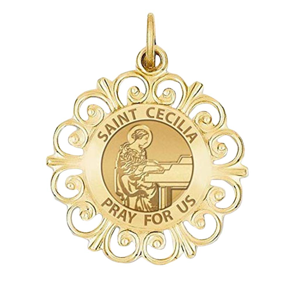 or Sterling Silver PicturesOnGold.com Saint Cecilia Round Filigree Religious Medal 14K Yellow or White Gold