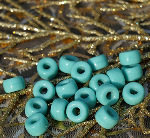 Large Turquoise Czech Glass Round Large Hole Beads Pony Ring Roller Crow 9mm x 5mm - Pony Beads Glass