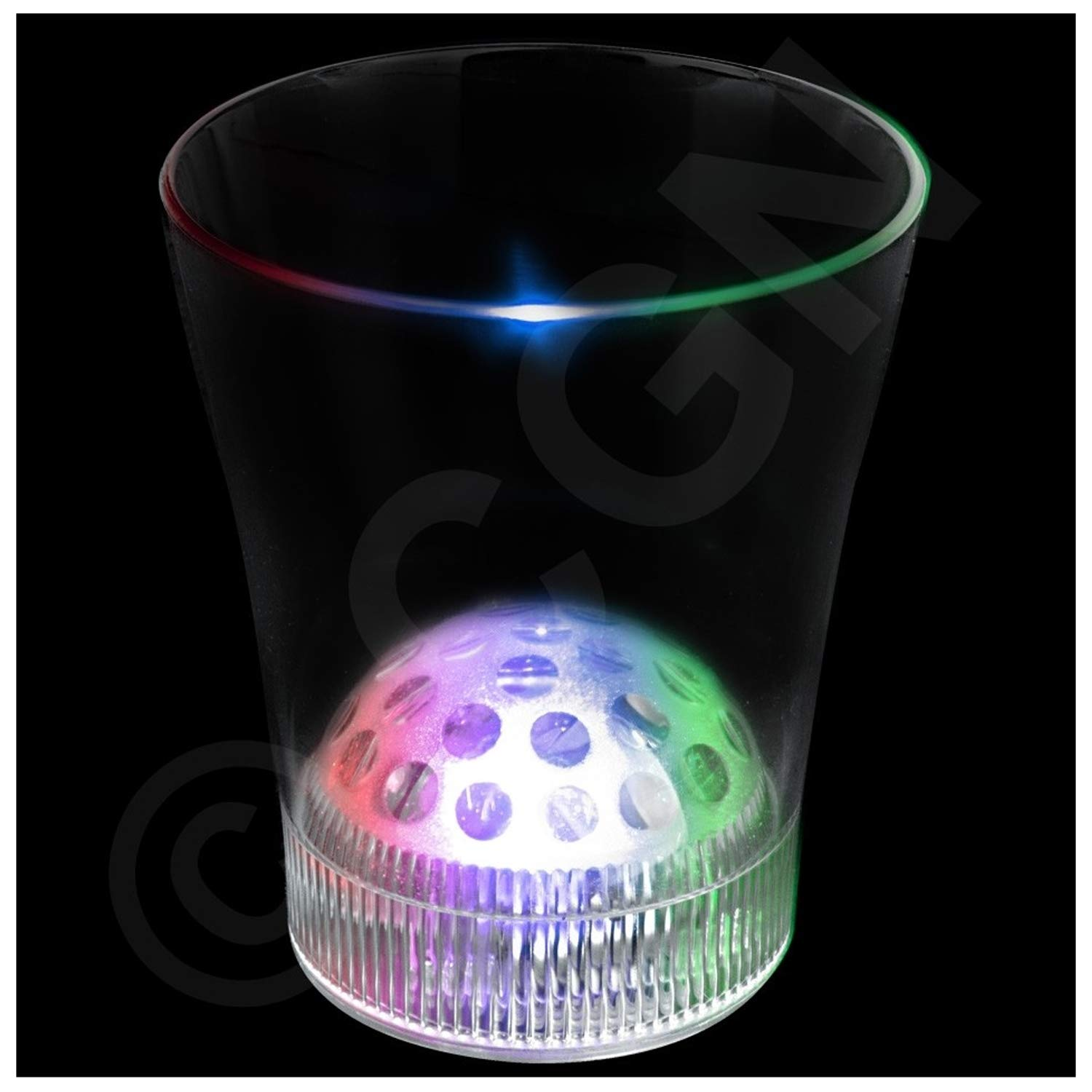 Lumistick LED Light Up Disco Base Projector Cup - Rotating LED Party Flashing DJ Lights Ball Strobe for Festival Bar Club (50 Pack)