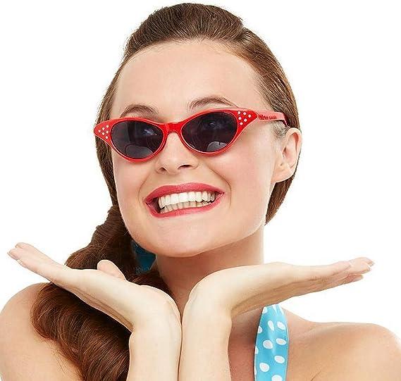 Amakando Gafas de Sol años 50 Rockabilly / Rojo / Lentes de Fiesta ...