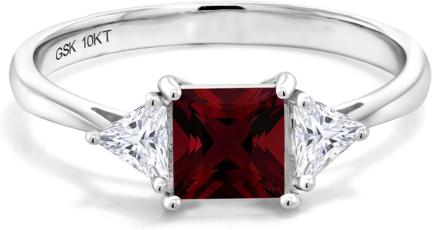 Gem Stone King 10K White Gold Red Garnet and Created Moissanite Women Solitaire Engagement Ring (1.24 Cttw, Available in size 5, 6, 7, 8, 9)