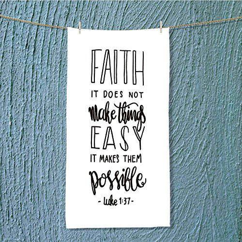 AmaPark quick dry towel large faith does not make things easy it makes them possible bible Fluffy, and Absorbent, Premium Quality w13.8 x H27.5 INCH by AmaPark