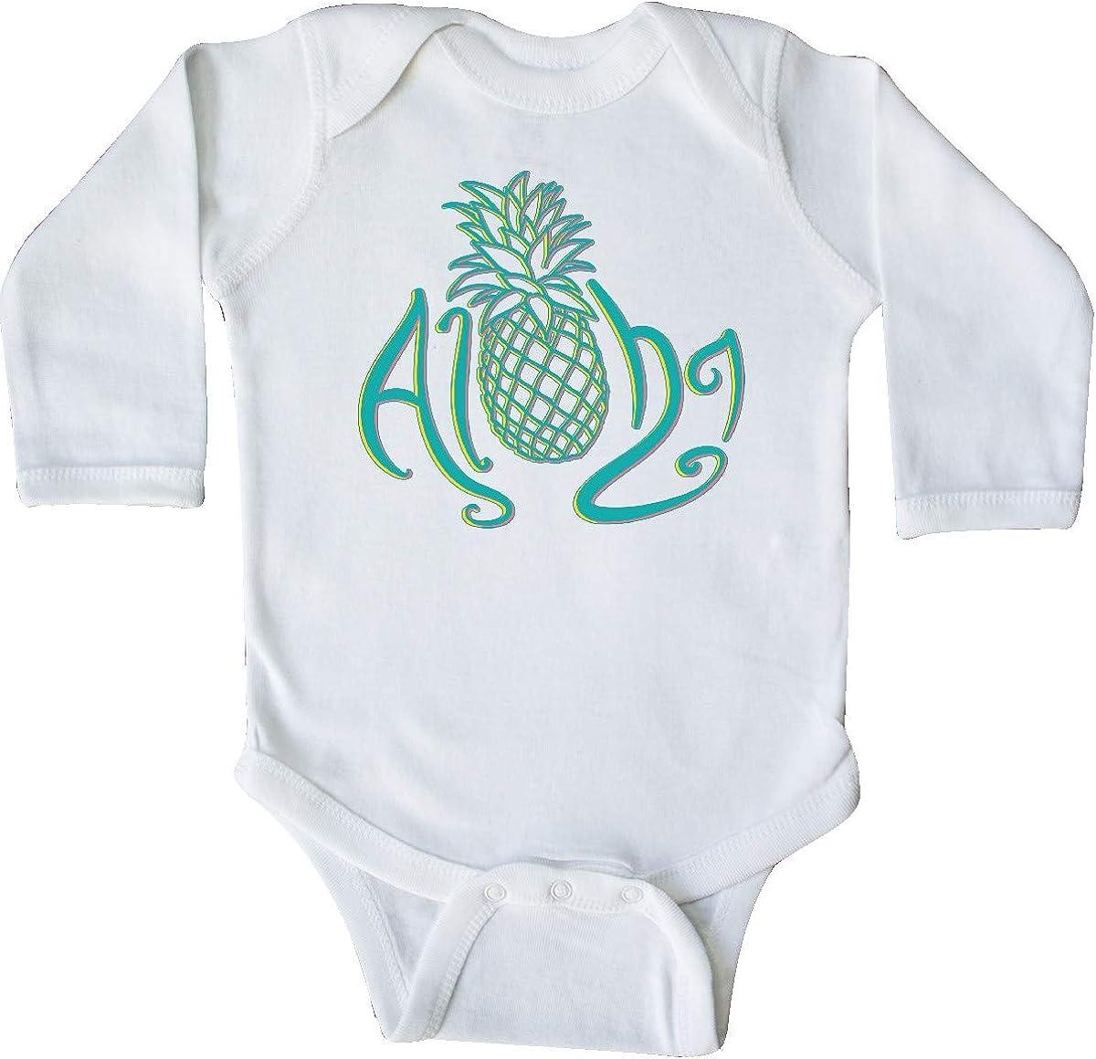 with Multicolor Teal Pineapple Long Sleeve Creeper inktastic Aloha