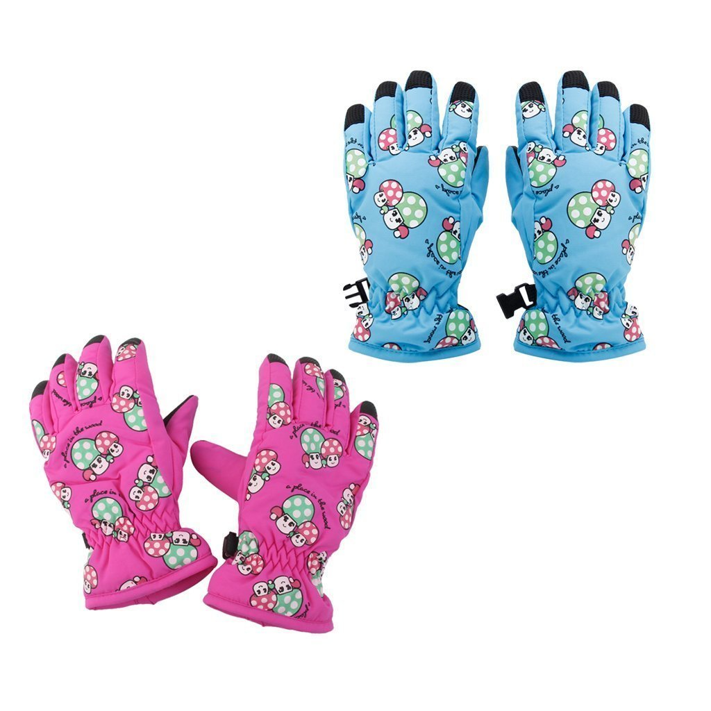 2 Pairs Kids Ski Gloves Waterproof Winter Snow Glove Age 2-4 for Outdoor Sports Mushroom Pattern by Yundxi