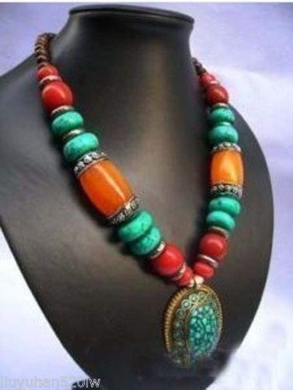 FUYU Colgante de Collar de Cera de Abejas de Piedra de Tibet de joyería