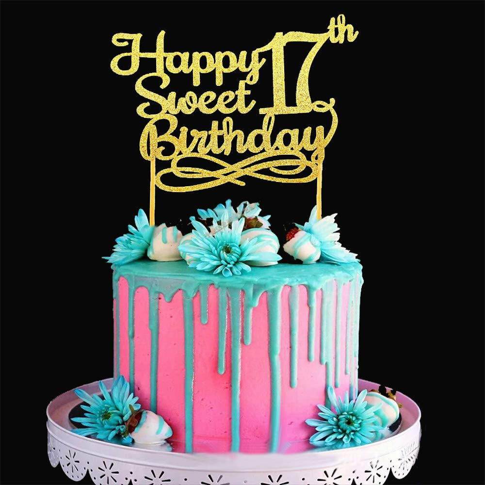 Admirable Gold Happy Sweet 17Th Birthday Cake Topper Gold Paper Cake Topper Personalised Birthday Cards Veneteletsinfo