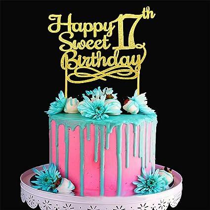 Phenomenal Gold Happy Sweet 17Th Birthday Cake Topper Gold Paper Cake Topper Funny Birthday Cards Online Barepcheapnameinfo