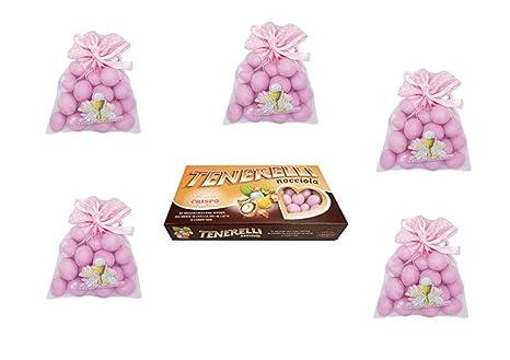 24 bolsitas de tul de primera comunión rosa, 1 kg de ...