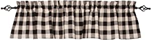 Home Collections by Raghu 72x15.5 Buffalo Check Black-Buttermilk Valance
