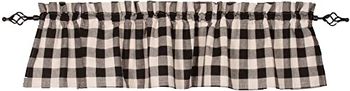 Home Collections by Raghu 72×15.5 Buffalo Check Black-Buttermilk Valance