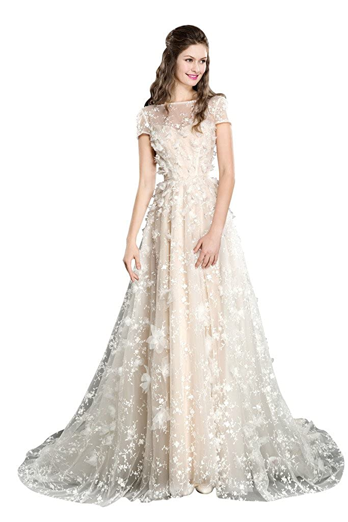 Coloredress Short Sleeve All Lace Wedding Dress With Flowers At