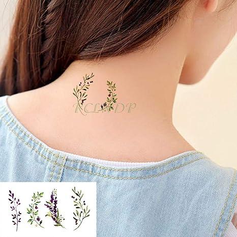 7Pcs-Waterproof Tattoo Sticker Purple Rose Leaf Plant Small Tattoo ...