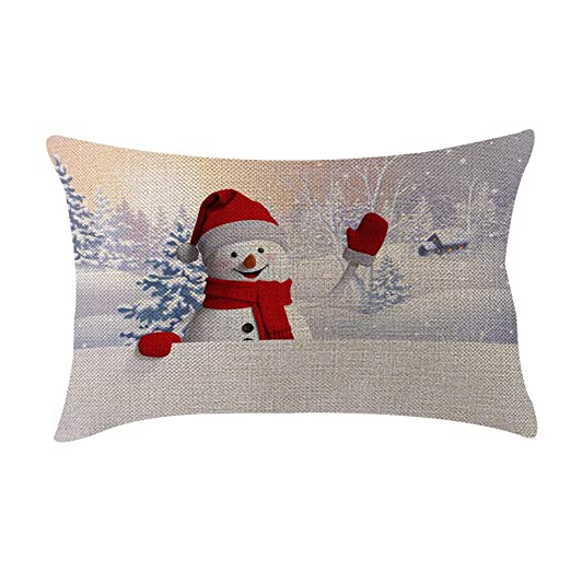 Funda de Cojín Navidad 30×50 Rojo Blanco Decoración ...