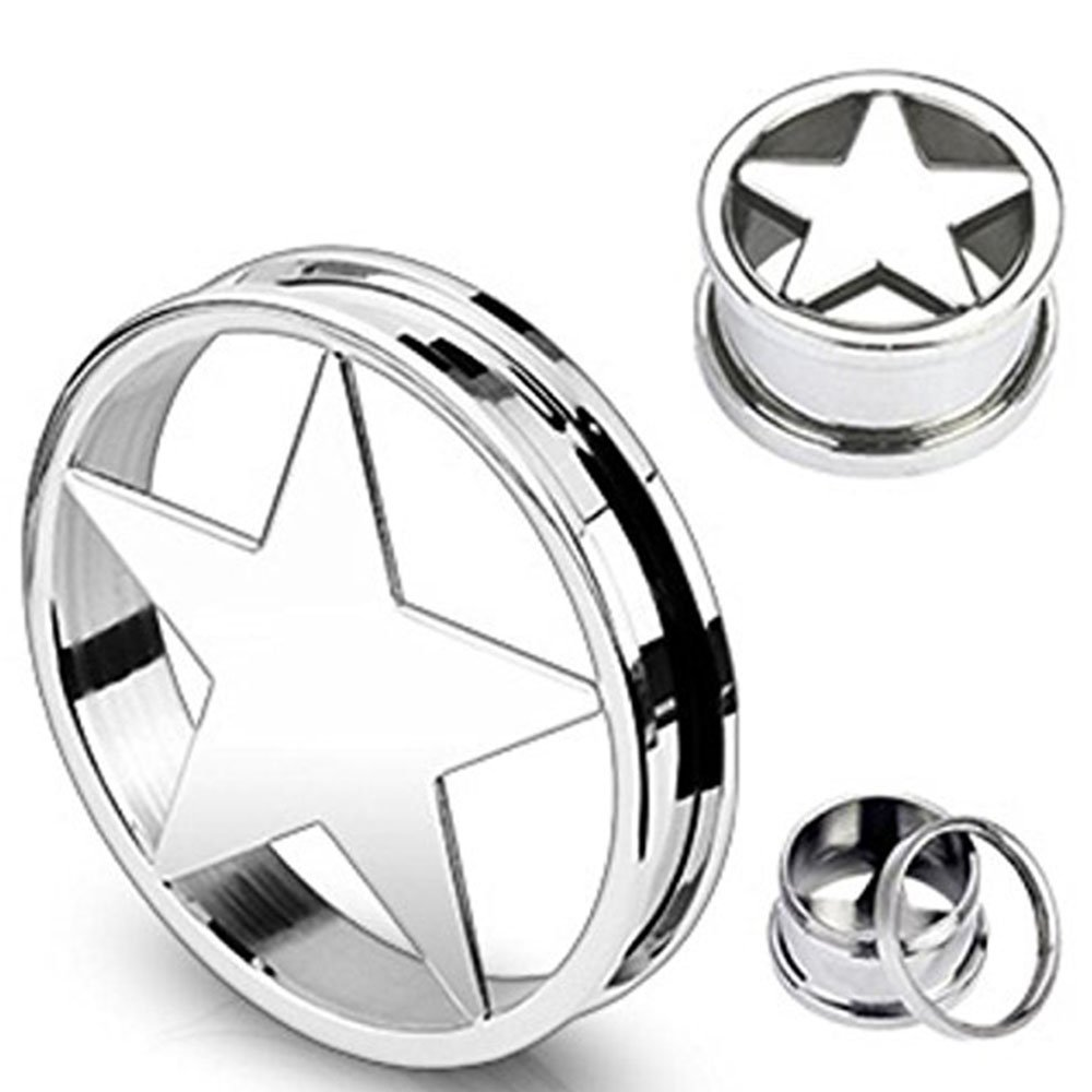 Inspiration Dezigns 316L Surgical Steel Star Screw Fit Tunnels Up to 2 Sold as Pairs
