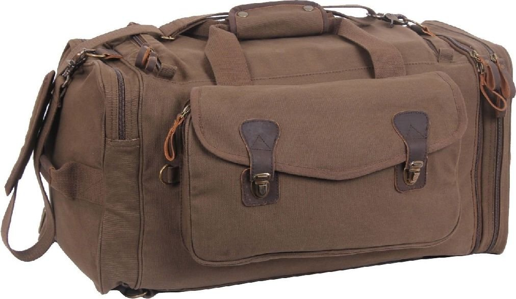 a8ff9d4dd426 Amazon.com : Brown Extended Stay Canvas Weekend Travel Duffle Bag w ...
