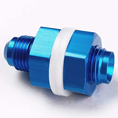 6AN Fuel Cell Bulkhead Fitting Adapter Aluminum AN6 Locking Nut 6 AN Male Flare Thread Blue with Teflon Washer: Automotive