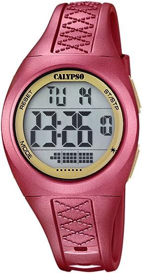 Calypso–Reloj Digital Unisex con LCD Pantalla Digital Dial y Correa de plástico de Color Rojo, K5668/2
