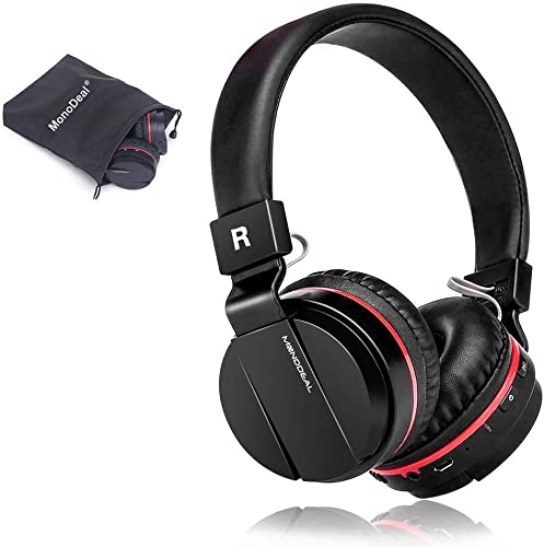 Active Noise Cancelling Wired Wireless Bluetooth Headphones with Mic,Monodeal Foldable on The Ear Headset,Soft Memory-Protein Earmuffs,Hi-Fi Stereo Headset for PC Cell Phones TV