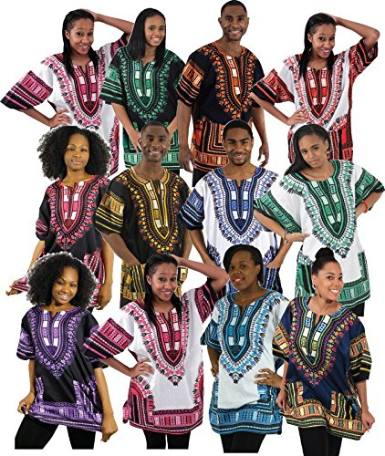 (Set Of 12 Traditional Thailand Dashikis - Dashiki Unisex Shirt Dashiki African Shirt Free Size Several Colors - Free shipping)