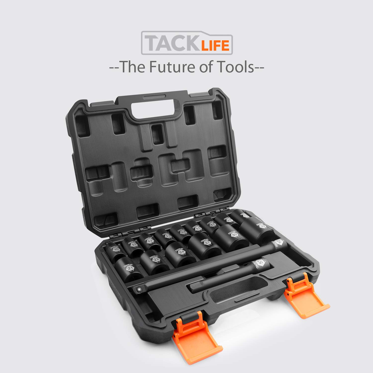 TACKLIFE Complete 1//2-Inch Drive Shallow Impact Socket Set Metric 17-Piece Set CR-V 6-Point - HIS3A