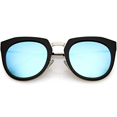 b9575fa283 zeroUV - Polarized Oversize Cat Eye Sunglasses For Women Metal Trim Colored  Mirror Lens 53mm (