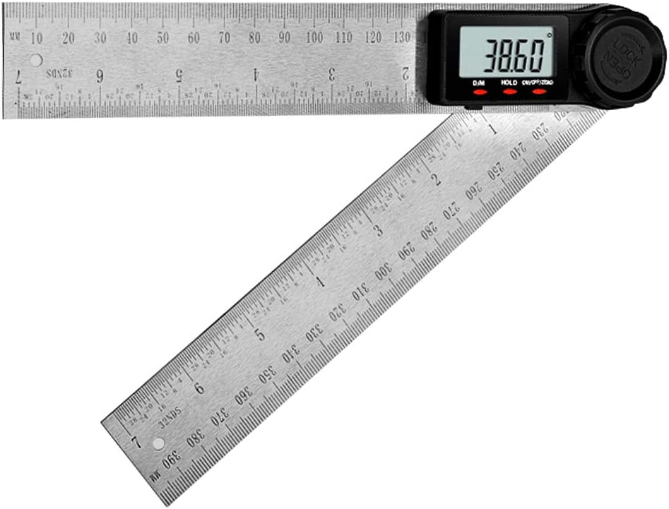 2 In 1 200mm Stainless Steel Protractor Ruler LCD Digital Angle Finder Goniomete