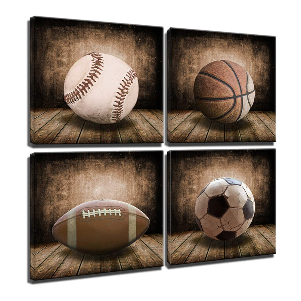 Rustic Soccer Football Baseball Basketball on Vintage Wood Grain Floor Fine Art Prints Sports Decor Soccer Nursery for Kids Boy Room Decoration,Framed (Vintage, 12x12inchx4pcs (30x30cmx4pcs))