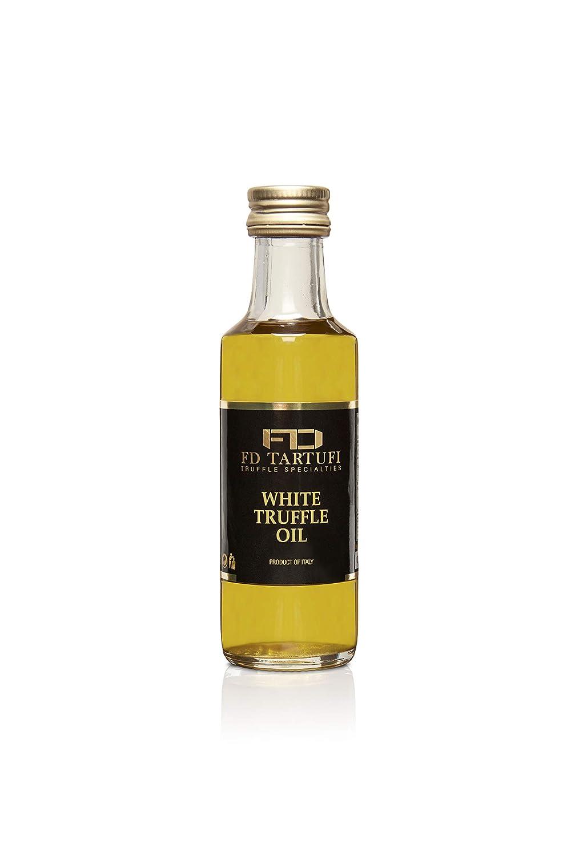 FD TARTUFI White Truffle Oil 100 ml (3.40fl oz) Gourmet Food Seasoning | Dressing - Made in Italy | Extra Virgin Olive Oil | Kosher | Vegetarian - non gmo
