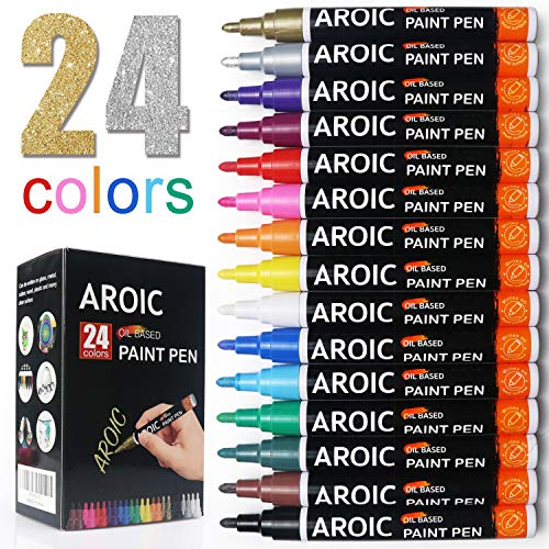Paint Pens for Rock Painting - Write On Anything! Paint pens for Rock, Wood, Metal, Plastic, Glass, Canvas, Ceramic & More! Low-Odor, Oil-Based, Medium-Tip Paint Markers (24 Pack)