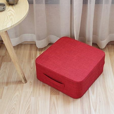 Zafu Yoga meditación Cojín del asiento, Tatami Almohadilla del asiento FÁcil de llevar Puf de Cojín de suelo de Tejido de lino de algodón Futón Gran ...