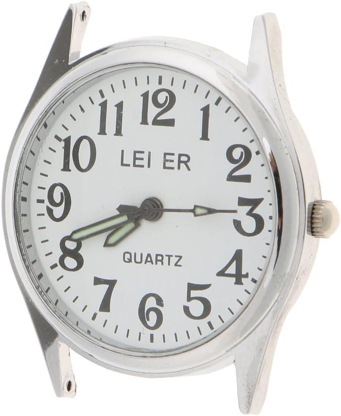 P Prettyia Round LEIER Head Head Japanese 2035 Movimiento Reloj de Cuarzo DIY Fabricación de Joyas - 18x32mm