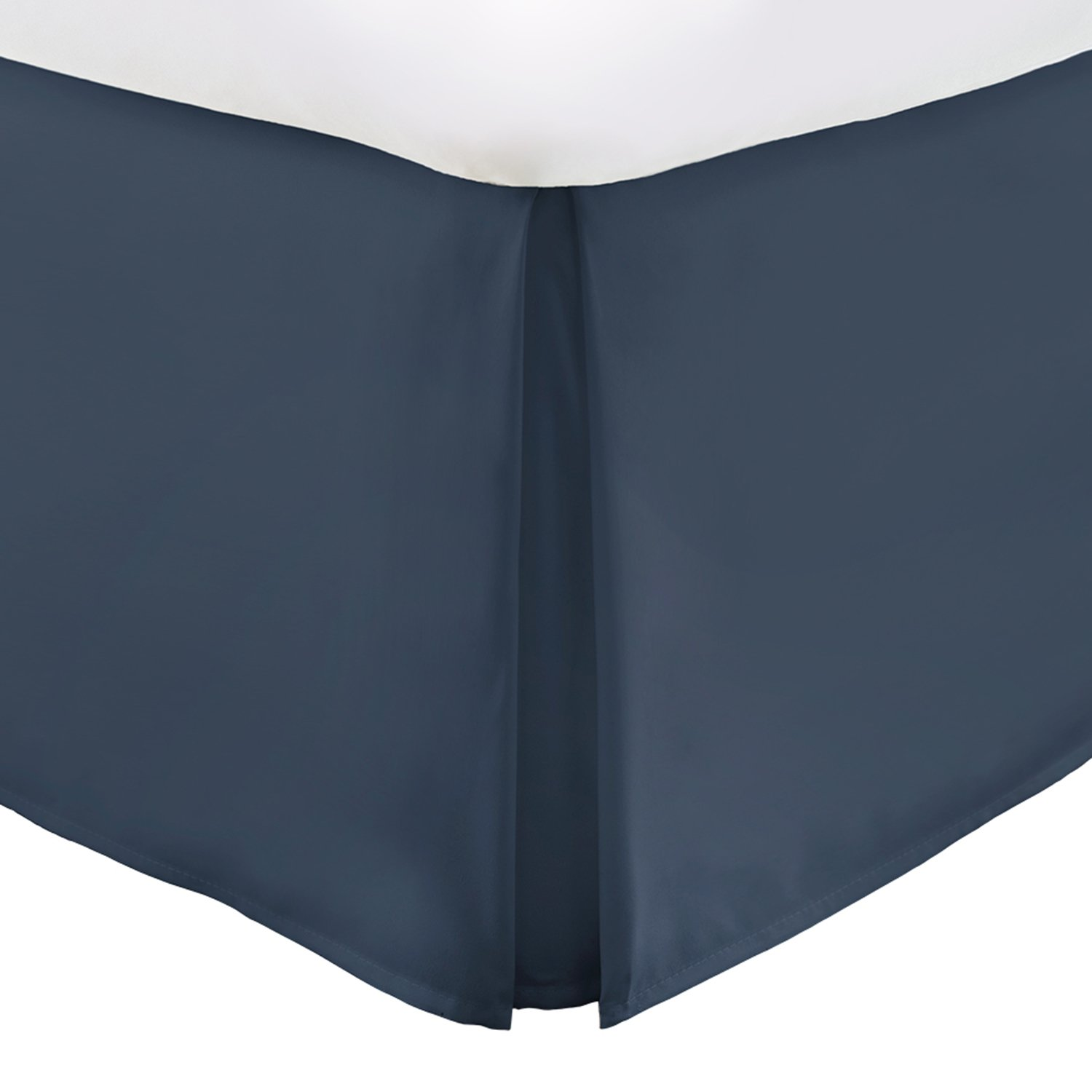 Italian Luxury Hotel Collection Bed Skirt with 15-inch Drop - Double Brushed Microfiber Pleated Dust Ruffle - Navy - Queen