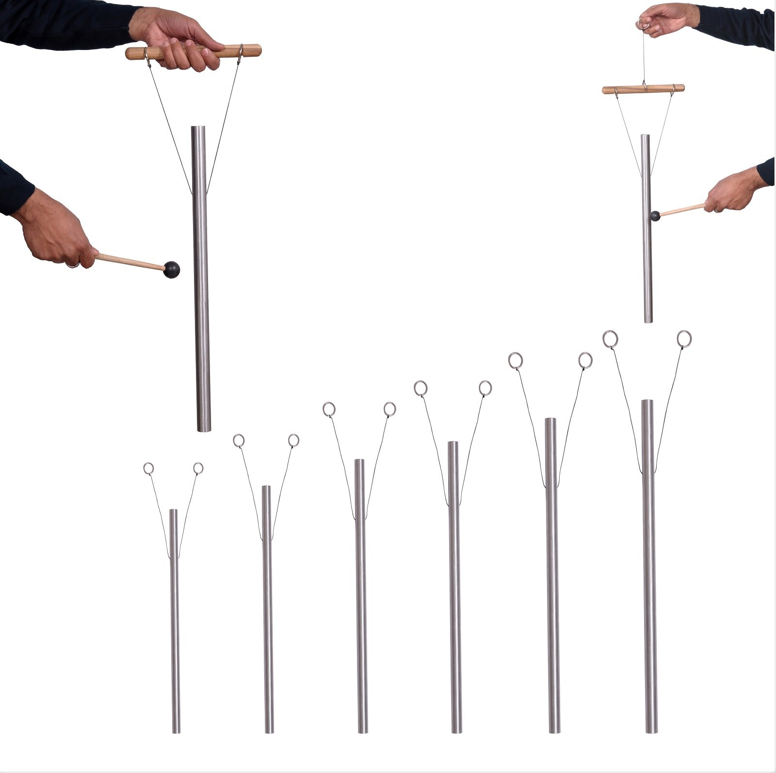 6 Sacred Solfeggio Healing Tuned Pipes including 528 hz louder than tuning fork with mallet & hand stand