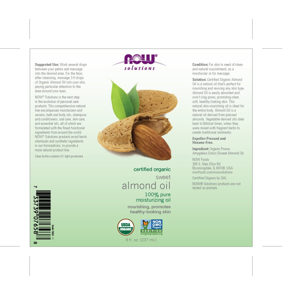 NOW Solutions Organic Almond 8 Ounce Image 3