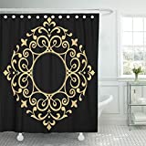 Emvency 72''x72'' Shower Curtain Waterproof Home Decor Monogram Line Frames Elegant In Eastern Place For Text Golden Outline Floral Border Picture Print Polyester Fabric Adjustable Hook