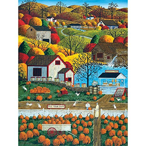 Country Morning Collection (MasterPieces Town & Country Autumn Morning - Pumpkin Patches Large 300 Piece EZ Grip Jigsaw Puzzle by Art Poulin)